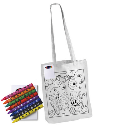 Picture of Colouring Long Handle Cotton Bag & Crayo