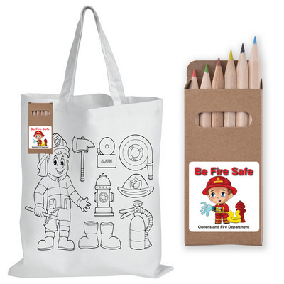 Picture of Colouring Short Handle Cotton Bag & Penc