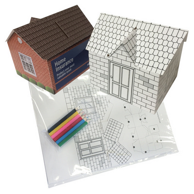 Picture of House shaped money box self assemble-col
