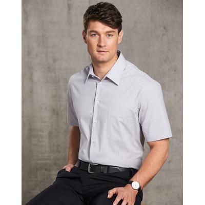 Picture of Mens Ticking Stripe Short Sleeve Shirt