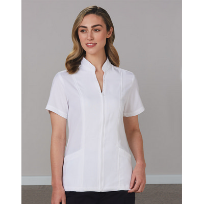 Picture of WomenS Full Zip Front Short Sleeve Tunic