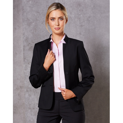 Picture of Ladies Wool Blend Stretch Reverse Lapel Jacket
