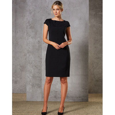 Picture of Ladies Wool Blend Stretch Cap Sleeve Dress