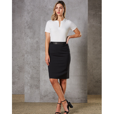 Picture of Women Wool Blend Stretch Mid Length Lined Pencil Skirt