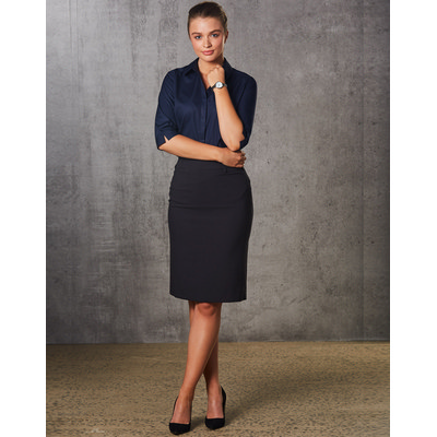 Picture of Women PolyViscose Stretch Mid Length Lined Pencil Skirt