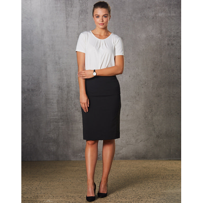 Picture of Women PolyViscose Stretch Stripe Mid Length Lined Pencil Skirt