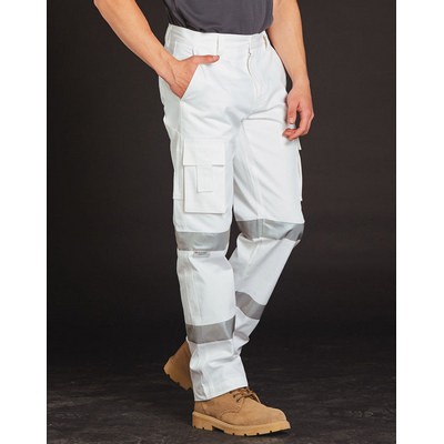 Picture of Mens White Safety Pants With Biomotion Tape Configuration