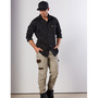 Mens Stretch Work Shirt With 2 Front Flap Pockets