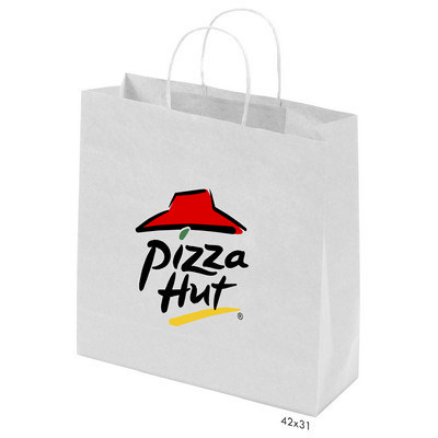 Picture of Kraft Paper Bag White Large Includes Twi