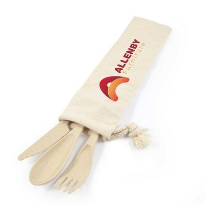Picture of Delish Eco Cutlery Set in Calico Pouch