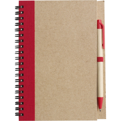 Picture of Wire bound notebook with ballpen.