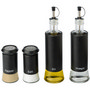 Glass oil and vinegar, and salt and pepp