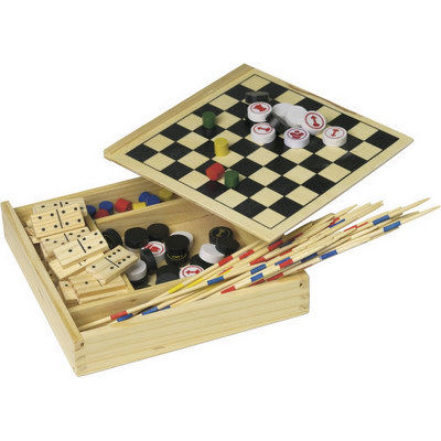 Picture of Wooden 5-in-1 game set