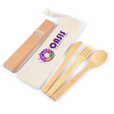 Picture of Miso Bamboo Cutlery Set & Straws in Cali