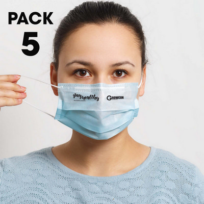 Picture of 5 Pack - Disposable Face Masks