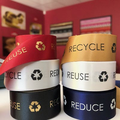 Picture of Recycled Woven Edge Satin Ribbon 24mm