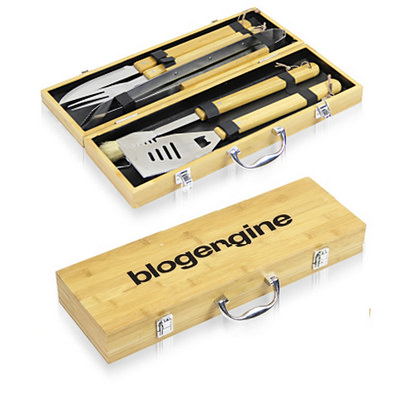 Picture of 5 Piece Bbq Set In Bamboo Box