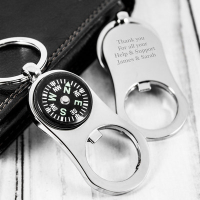 Picture of Metal Bottle Opener Compass Keychain