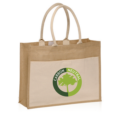 Picture of Calico Pocket Jute Tote Bag