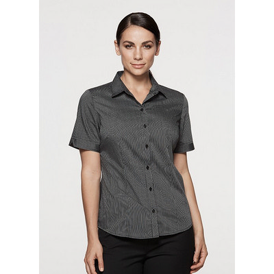 Picture of Ladies Henley Striped Short Sleeve Shirt