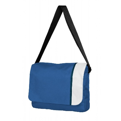 Picture of Spectrum Basic Flap Satchel Blue/White