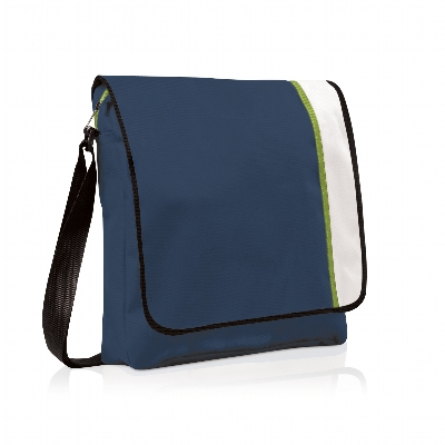 Picture of Spectrum Basic Flap Satchel Navy/White/Lime