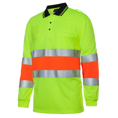 Picture of JBs Hi Vis Bio Motion (D+N) L/S Polo With 3M Tape