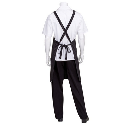 Picture of Black with White Pinstripe Crossover Apron