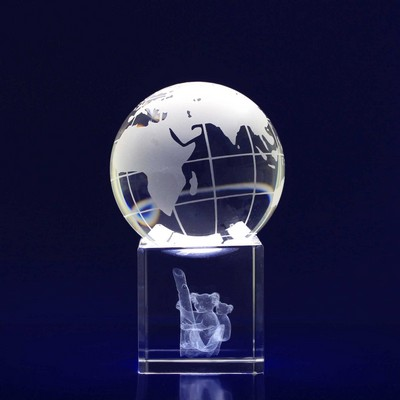 Picture of 3D Crystal Spinning Globe award / desk toy
