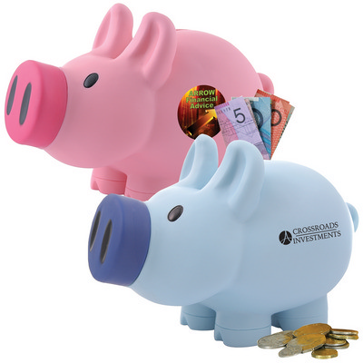 Picture of Priscilla Pig (Pink) and Patrick Pig (Blue) Coin Bank