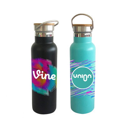 Picture of 600ml Double Wall Vacuum Bottle with Bamboo Lid