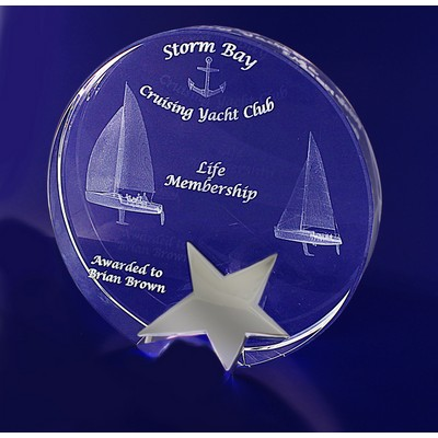 Picture of 3D Crystal Star Round award / trophy