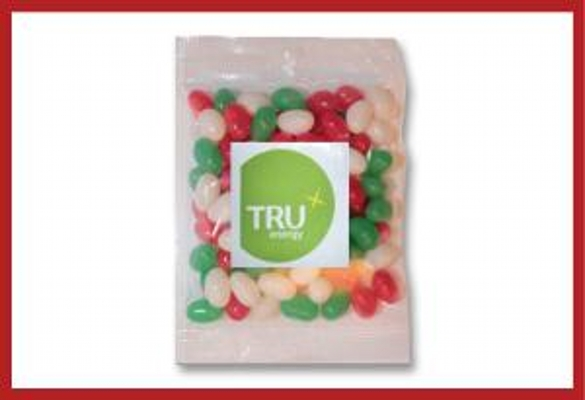 Picture of Christmas mini jellybeans 100g cello bag with label