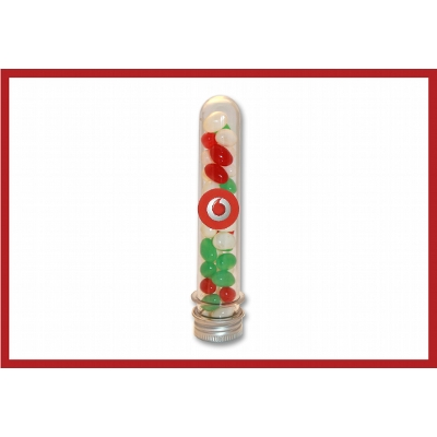 Picture of Christmas mini jellybeans in test tube with label