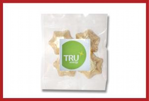 Picture of Gold foiled stars 30g cello bag with label