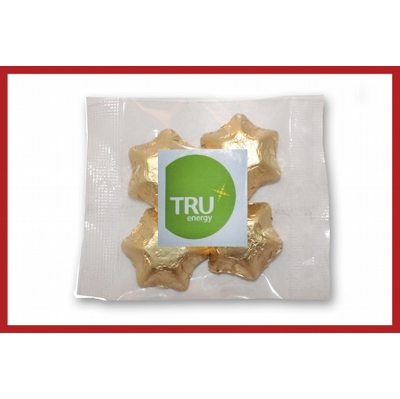 Picture of Gold foiled stars 50g cello bag with label
