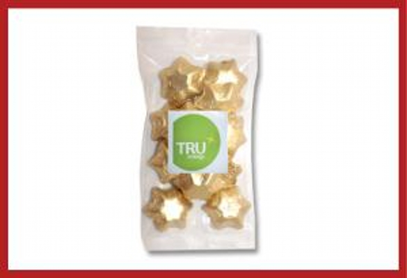 Picture of Gold foiled stars 100g cello bag with label