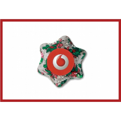 Picture of Christmas Holly Chocolate Star with label