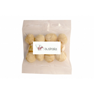 Picture of 30g Dry roasted unsalted Macadamias with label