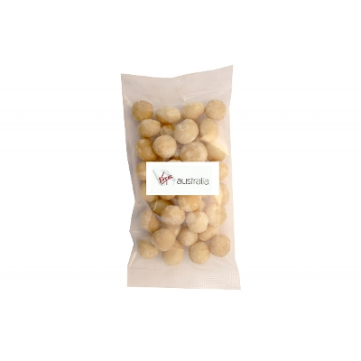 Picture of 100g Dry roasted unsalted Macadamias with label