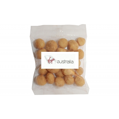Picture of 50g Wasabi Macadamias with label