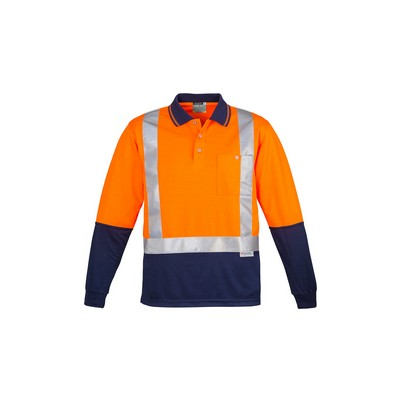 Picture of Mens Hi Vis Spliced Polo - Long Sleeve Shoulder Taped