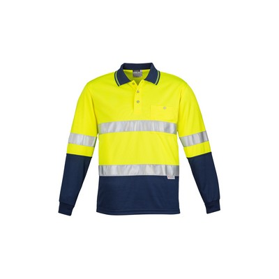 Picture of Mens Hi Vis Spliced Polo - Long Sleeve Hoop Taped